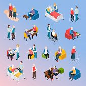 Elderly People Nursing Home Residents Isometric Icons Set With Medical Care Physical Activities Assi poster