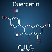 Quercetin ( Flavonoid) Molecule. Structural Chemical Formula And Molecule Model On The Dark Blue Bac poster