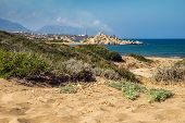 Desert Coastline With Sand Alagadi Beach Of Northern Cyprus And Factory And Mountains On Horizon poster