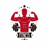 Bodybuilding Weightlifting Gym Logotype Sport Template, Vintage Style Vector Emblem. With Bodybuilde poster