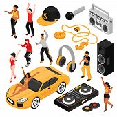Rap Music Culture Symbols Isometric Set With Singers Performers Retro Accessories So As Cassette Pla poster