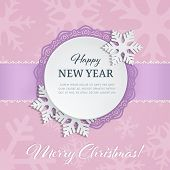 Cutout Paper Round Label With Ornamental Frame And 3d Snowflakes On The Soft Pink Winter Background  poster