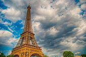 Eiffel Tower At Sunset In Paris, France. Romantic Travel Background. Hdr. Eiffel Tower Is Traditiona poster