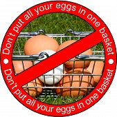 Chicken Eggs In A Shopping Basket On The Grass With The Wording Dont Put All Your Eggs In One Basket poster