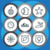 Ecology Icons Set With Protect Forest, Protect Nature, Protect Ecology And Other Sea Star Elements.  poster