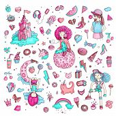 Colored Set Of Teenage Girl Icons, Cute Cartoon Teen Objects, Fun Stickers Design Vector In Teenager poster