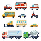 Contains Such As Heavy Industrial Vehicle Car, Tractor, Police Ambulance School Bus, Fire Fighting C poster