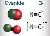 Cyanide Anion Molecule. Structural Chemical Formula And Molecule Model. Vector Illustration poster