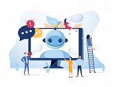 Concept Chatbot And Future Marketing Concept, Support For Web Page, Social Media. Vector Illustratio poster