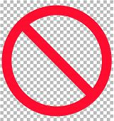 No Sign Isolated On Transparent Background. Flat Style. No Sign Icon For Your Web Site Design, Logo, poster