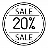 Icon Sales With Percent On A White Background. 20 poster
