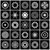 Design Elements Set. Contrast Black And White Abstract Icons. Vector Art. poster