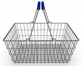 Shopping Basket. Empty Shopping Basket On A White Surface. Isolated. 3d Illustration poster