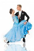 Ballroom Dance Couple In A Dance Pose Isolated On White Background. Ballroom Sensual Proffessional D poster