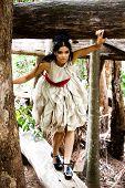 Постер, плакат: Портрет красивая фотомодель носить элегантное платье