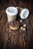 Disposable Take-out Mock-up Paper Cups With Coffee Beans, Sugar And Anise Stars For Morning Espresso poster