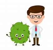 Funny Smiling Happy Marijuana Weed Bud With Doctor.vector Flat Cartoon Character Illustration Icon D poster