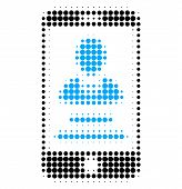 Mobile User Info Halftone Dotted Icon. Halftone Array Contains Round Elements. Vector Illustration O poster