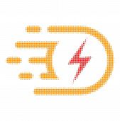 Electric Voltage Halftone Dotted Icon With Fast Speed Effect. Vector Illustration Of Electric Voltag poster