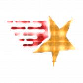 Star Halftone Dotted Icon With Fast Speed Effect. Vector Illustration Of Star Designed For Modern Ab poster
