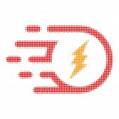 Electric Participle Halftone Dotted Icon With Fast Speed Effect. Vector Illustration Of Electric Par poster
