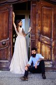 Glamorous And Casual. Sensual Woman In Fashionable Dress. Bearded Man In Casual Wear. Man And Woman  poster