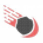 Meteor Halftone Dotted Icon With Fast Speed Effect. Vector Illustration Of Meteor Designed For Moder poster