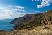 Landscape, Summer, Cape Megan, View From The Top, Coastline, Blue Sky, Clouds poster