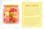Canned Tomatoes Of Different Types Poster With Text. Jar With Preserved Vegetables Food For Winter.  poster