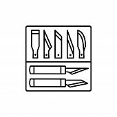 Black & White Vector Illustration Of Craft Pen Knife Set With Blades. Line Icon Of Craft Cutting Too poster