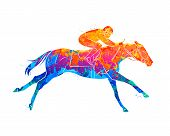 Abstract Racing Horse With Jockey From Splash Of Watercolors. Equestrian Sport. Vector Illustration  poster
