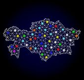 Glossy Polygonal Mesh Map Of Kazakhstan With Glare Effect. Vector Carcass Map Of Kazakhstan With Glo poster