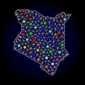Glossy Polygonal Mesh Map Of Kenya With Glare Effect. Vector Carcass Map Of Kenya With Glowing Multi poster