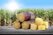 Sugar Cane Cut Heap On Wood Plank And Blurred Sugarcane Field Plantation Background, Sugarcane Fresh poster