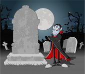 Halloween cemetery background with tombs and funny cartoon classic vampire character