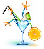 picture of glass frog  - Tree frog in Blue Lagoon cocktail - JPG