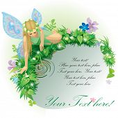 Vector greeting card with a fairy girl with blue wings seated near the water bordered by plants and