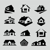 stock photo of building exterior  - Vector house silhouette icons - JPG