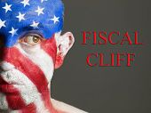 Man Face Flag Of Usa, Fiscal Cliff