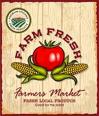 Vintage retro farm fresh poster design