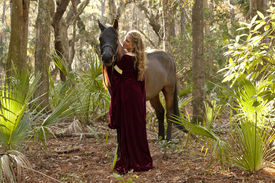 pic of bareback  - medieval woman in dress with horse in forest - JPG