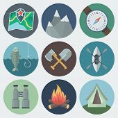 picture of ax  - Set of Camping Flat Circle Icons on Light Background - JPG