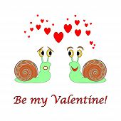 Two Funny Cartoon Snails With Hearts And Words