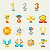 image of award-winning  - Trophy and awards icons set - JPG