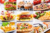 pic of nachos  - collage of various a fast food products - JPG