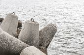 Seaside With Concrete Breakwater Tetrapod