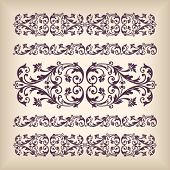 pic of arabic calligraphy  - Vector set vintage ornate border frame with retro ornament pattern in antique baroque style - JPG