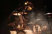 image of drum-set  - Set of drums on stage - JPG