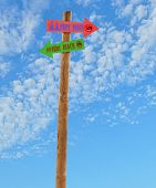pic of nudism  - wooden arrow direction signs post to the nude female and male beach against a blue sky - JPG