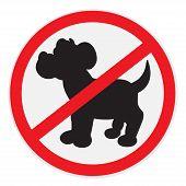 stock photo of dog poop  - Vector illustration of black no dogs sign - JPG